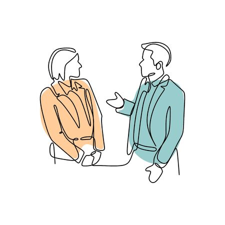 Single continuous line drawing of two young male and female startup founders have a business talk over soft drink. Business chat concept one line draw design illustration