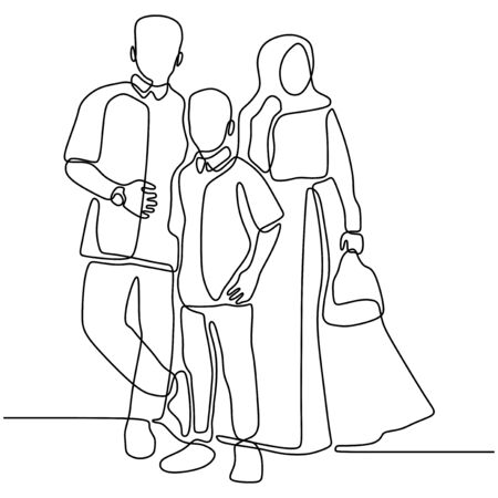 Family concept one continuous line drawing minimalist design isolated on white background parenting theme. 230919