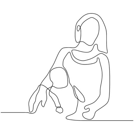 baby and mother one continuous line drawing. silhouette picture of mom. Vector illustration simplicity design.