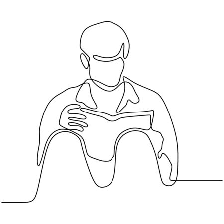 Continuous line drawing boy reading book vector illustration minimalist concept education back to schhol theme. 260919n