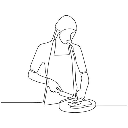 Woman enjoy making foods. Girl cooking food continuous one line drawing vector illustration. 240919d