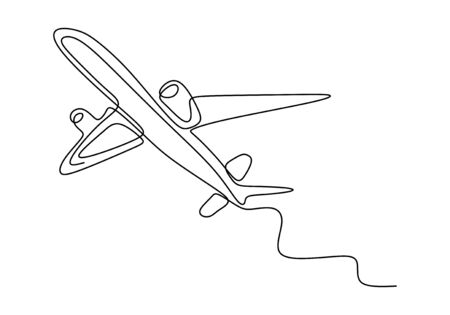 Continuous one line drawing of airplane minimalism hand drawn sketch lineart design. Vector transportation and travel theme.