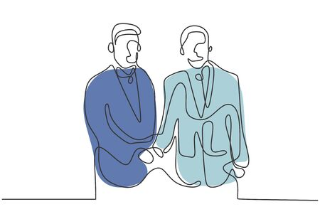 One line drawing of diplomatic mutual agreement between two person shaking hands together. Vector minimalism concept of metaphor.
