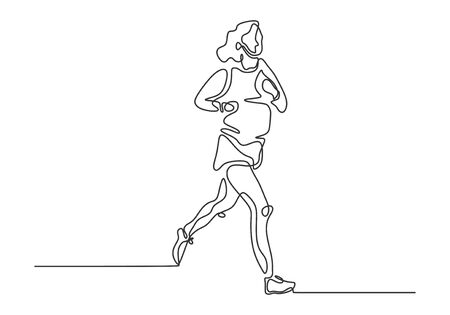 Continuous one line drawing of girl running on sport theme design vector illustration. Иллюстрация