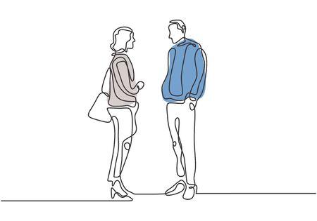 Un disegno a tratteggio continuo di due lavoratori che parlano e discutono del loro lavoro in ufficio. Concetto di capo e segretario.