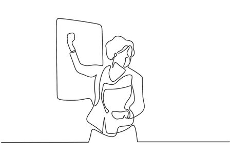 Continuous one line drawing of person teaching, coaching, and presenting. People writing on the board to explain something Illustration