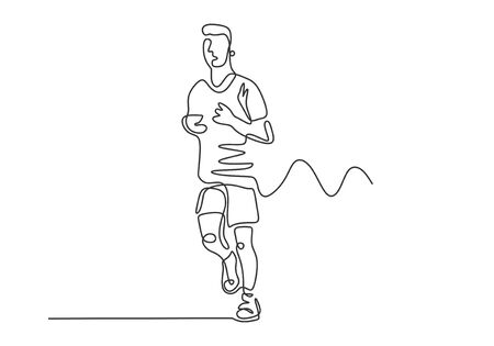 Man running on sport theme. Continuous one line drawing of person doing marathon. Concept of runner vector minimalism illustration.