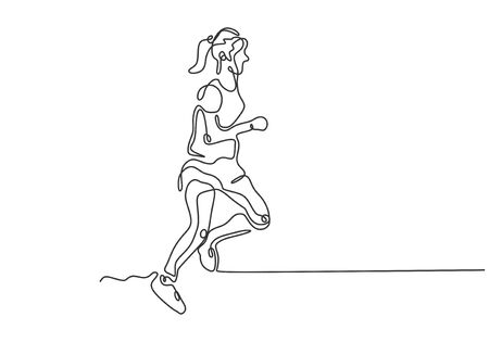 Continuous one line drawing of girl doing sport. Woman running on exercise. Vector minimalism hand drawn sketch lineart. Иллюстрация