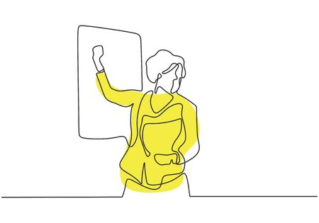 Continuous one line drawing of teacher explain and presenting on class. Woman writing on the board.
