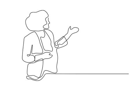 Continuous one line drawing of girl standing giving a speech with a paper. Vector minimalism of presentation concept. Çizim