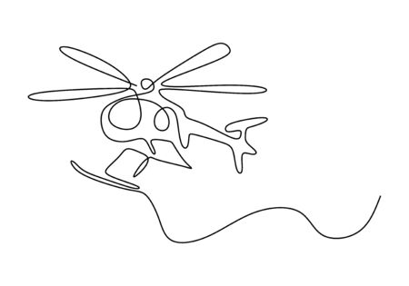 Continuous one line drawing of helicopter minimalist design lineart hand drawn sketch. Vector minimalism isolated on white background.
