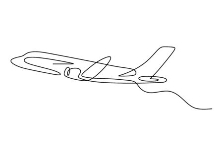 One line drawing of airplane minimalism hand drawn sketch lineart design. Vector transportation and travel theme.