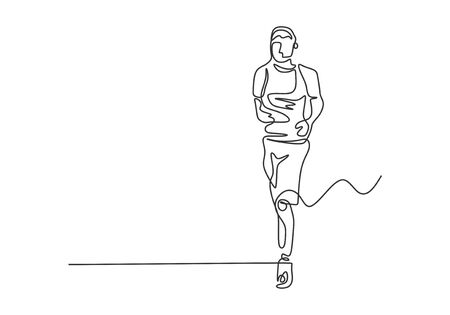 Continuous one line drawing of man running during sport competition. Concept of person run to make his body healthy.
