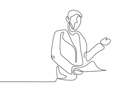 Continuous one line drawing of person presenting with a paper. Concept of explanation and deliver communication. 向量圖像
