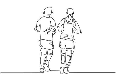 Ciągłe rysowanie jednej linii biegnących osób. Sportowiec i sportsmenka robi ćwiczenia, aby dopasować ciało.