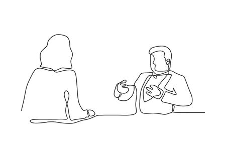 Continuous one line drawing of job interview or business conversation between two persons. Vector minimalism concept.