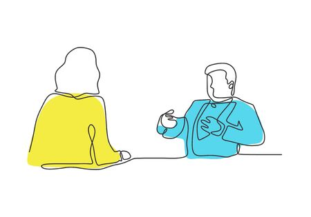 Continuous one line drawing of business discussion of two persons. Man talking with secretary or client. Illustration