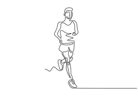 Continuous one line drawing of man running on sport theme. Vector marathon runner. Illustration