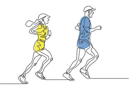 Continuous one line drawing of people running. Vector minimalism of man and woman doing exercise.