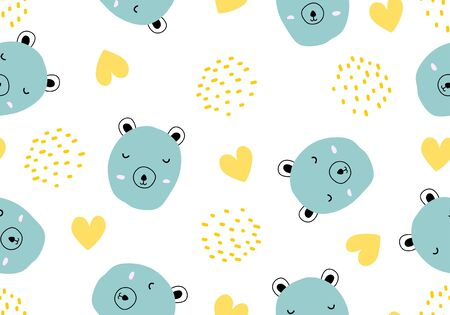 Cute pig seamless pattern with hand drawn childish style. Vector illustration for kids and baby apparel fashion textile print.