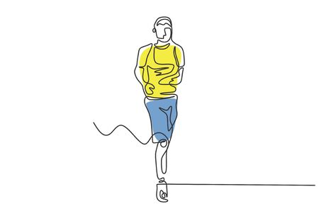 Runner continuous one line drawing vector minimalism with colors. Man doing sport on marathon competition.