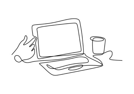 Continuous one line drawing of laptop and mug with hand minimalism Иллюстрация