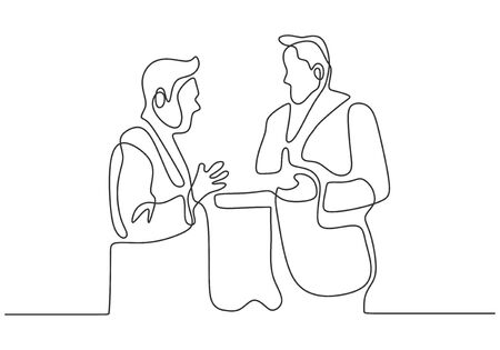 Continuous one line drawing of business meeting of two officer. Concept of CEO or boss talking their company.
