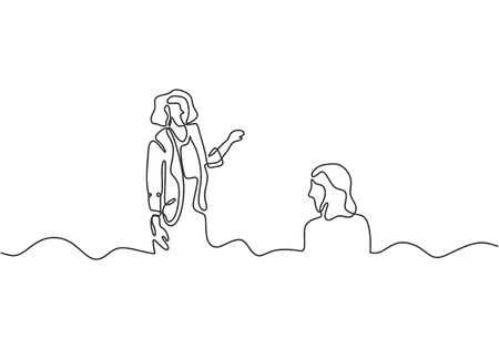 Continuous one line drawing of girl presentation vector minimalism. Business people concept hand drawn sketch single simplicity style. Illustration