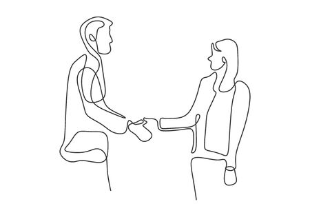 Continuous one line drawing of business concept of a man and women hand shake. Handshake of agreement and bilateral vector illustration minimalist design.