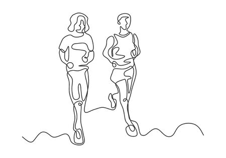 Continuous one line drawing of man and woman running on sport theme. Vector minimalist design linear hand drawn.