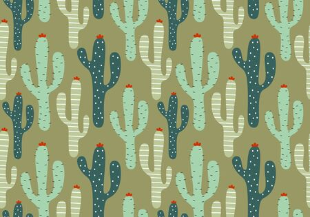 Floral seamless pattern with cactus colorful drawing. Nursery flora leaves hand drawn scandinavian. Vector illustration for kids and baby apparel fashion textile print.