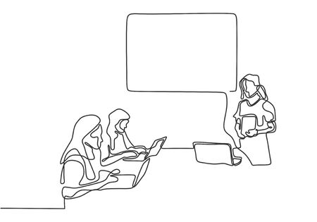 Continuous one line drawing of mentor giving a tutor presentation on the class. Minimalist design conceptual sketch lineart. Иллюстрация