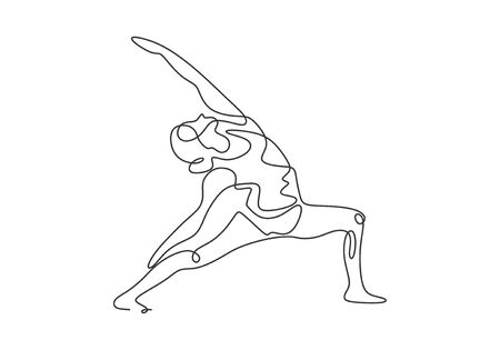 Continuous one line drawing of yoga girl minimalist design. Concept of woman doing aerobic exercise to make her body slim, healthy and fit.