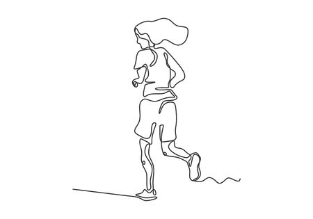 Continuous one line drawing of woman running on sport. Vector minimalism black and white lineart. Иллюстрация