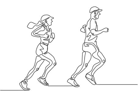 Continuous one line drawing of man and girl running. Concept of couple doing marathon. Иллюстрация
