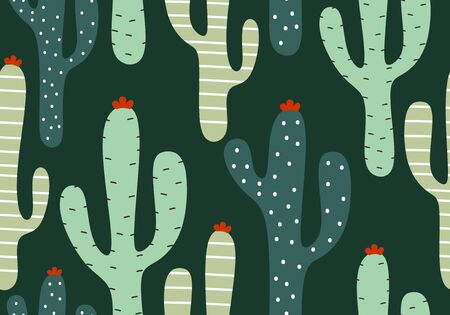 Cactus seamless pattern with hand drawn cute scandinavian style. Exotic jungle botanical garden green colors theme. Vector illustration for kids and baby apparel fashion textile print. 向量圖像