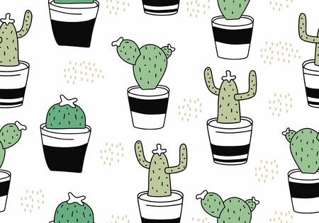 Cute cactus seamless pattern with botanical exotic theme. Funny character drawing floral botanical garden with pot. Vector illustration for kids and baby apparel fashion textile print. 向量圖像