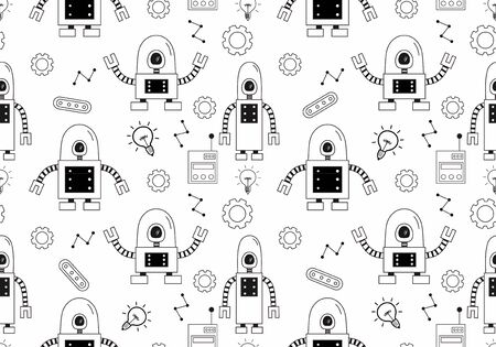 Robot seamless pattern with cute doodle drawing style. Cartoon black and white colors. Vector illustration for kids and baby apparel fashion textile print. 向量圖像