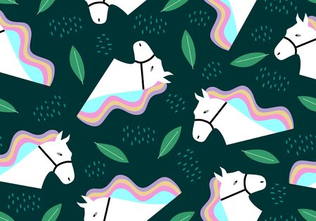 Horse seamless pattern with leaves greenery colorful background. Vector illustration for kids and baby apparel fashion textile print. 向量圖像