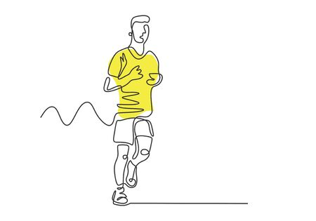 Marathon runner continuous one line drawing. Person doing sport exercise with single hand drawn minimalism design.