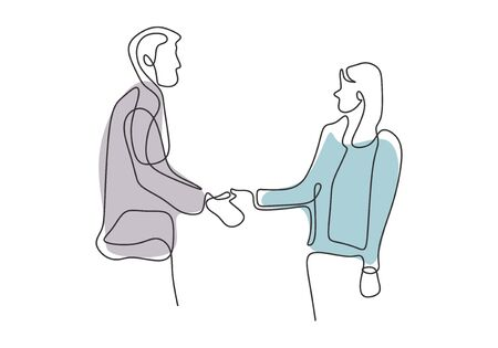 continuous line drawing of business persons shaking hands on mutual agreement
