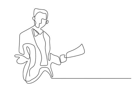 Continuous one line drawing of man standing giving a speech with a paper.