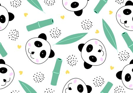 Funny animal seamless pattern with cute panda cartoon style. Drawing of animal in asian theme. Chinese bamboo character. Vector illustration for kids and baby apparel fashion textile print.