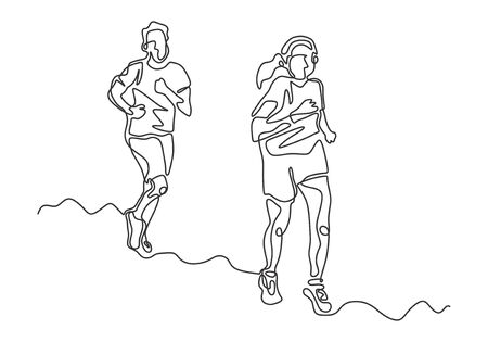 Continuous one line drawing of man and girl running. Concept of couple doing marathon. Illustration