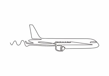 Airplane continuous line sketch. Vector one hand drawn minimalism.