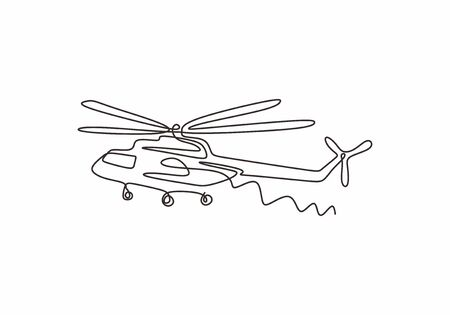 Helicopter continuous one line drawing minimalism vector. Transportation vehicle theme design single sketch hand drawn. Illustration