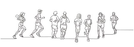 Continuous one line drawing of people running. Concept of sport theme. Illustration