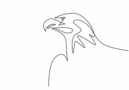 Continuous line drawing of eagle or falcon head. Hawk vector illustration animal bird minimalism for tattoo, logo, and poster. Simplicity style design.