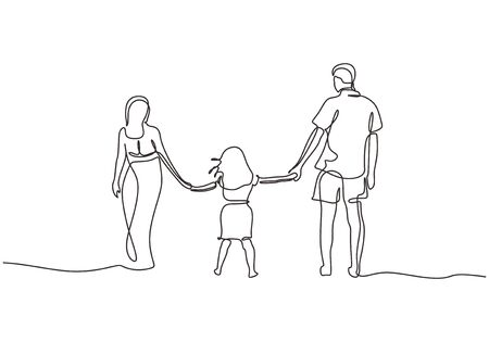 Continuous one line drawing of happy family. Concept of father, mother, and daughter holding hands vector minimalism.