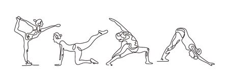Continuous one line drawing of yoga girl minimalism. Vector illustration set of people doing sport.
